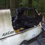 ausgebrannter wohnwagen
